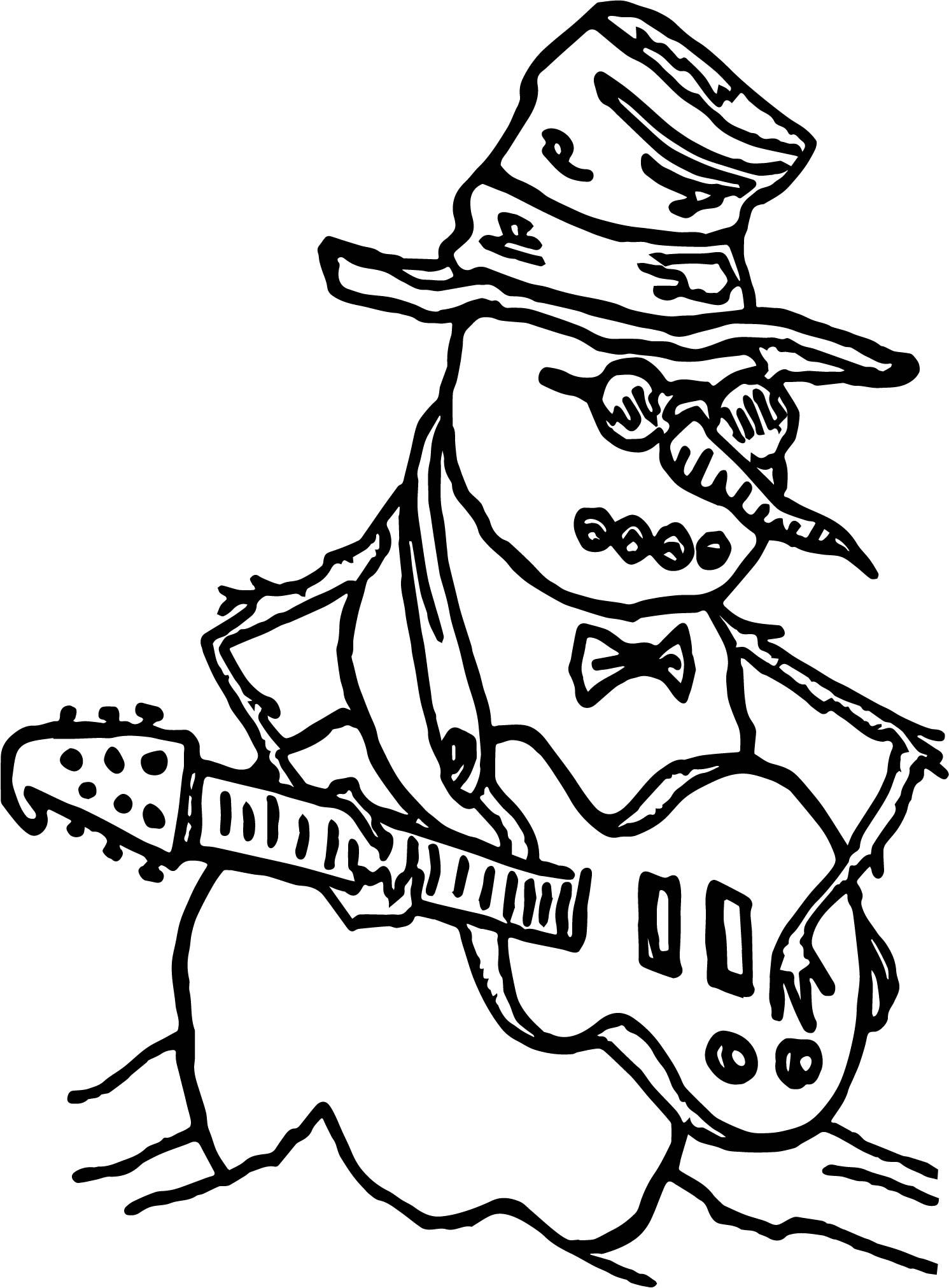 Awesome Snowman Guitar Playing The Guitar Coloring Page