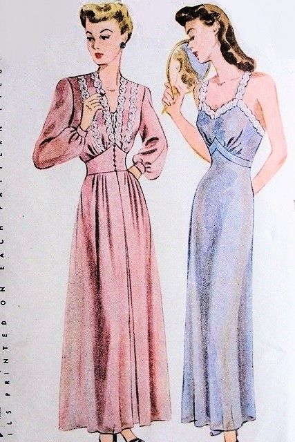40s Romantic Nightgown and Negligee Robe Pattern Simplicity 4995 Wedding Trousseau Boudoir Lingerie Styles Bust 36 Vintage Sewing Pattern