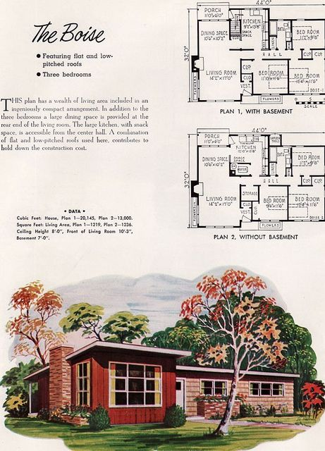 Nps Plan Boise 1952 Vintage House Plans Modern House Plans Mid Century Modern House Plans