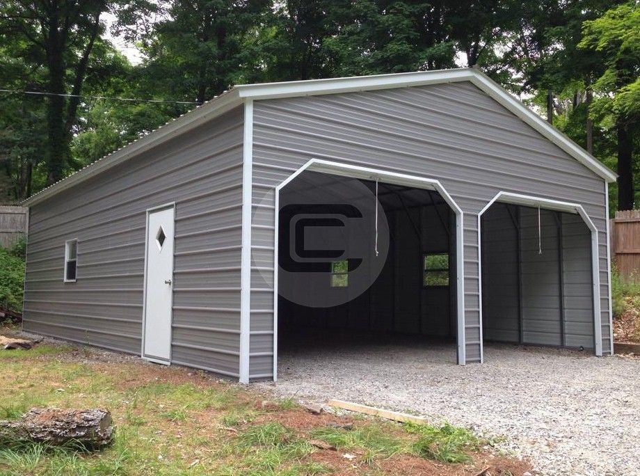 Fully Enclosed Metal Garage Starting At Only 6 015 Get One From Carport Central The Nations Largest Met Metal Garages Metal Buildings Metal Garage Buildings