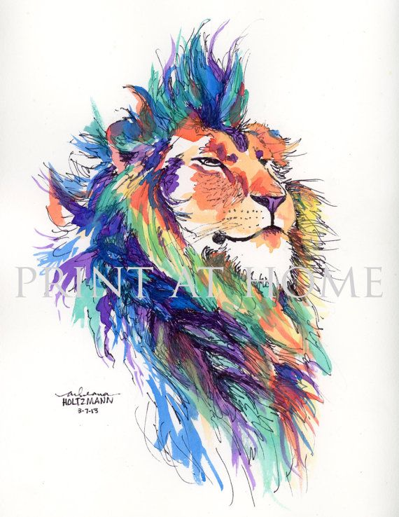 Colorful Watercolor Lion Pride Lion No Longer Available On Etsy But Prints Are Available At Arleana Hol Watercolor Lion Colorful Lion Feather Tattoo Colour