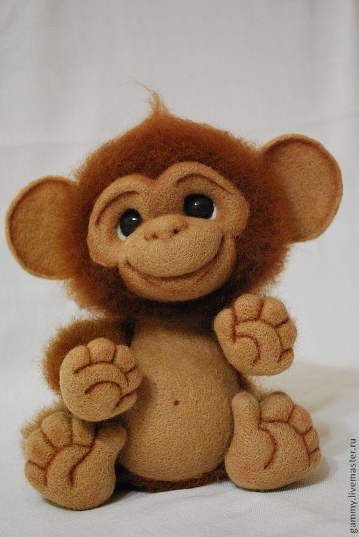 Тося - обезьянка,валяная игрушка,игрушка их шерсти,валяная ...