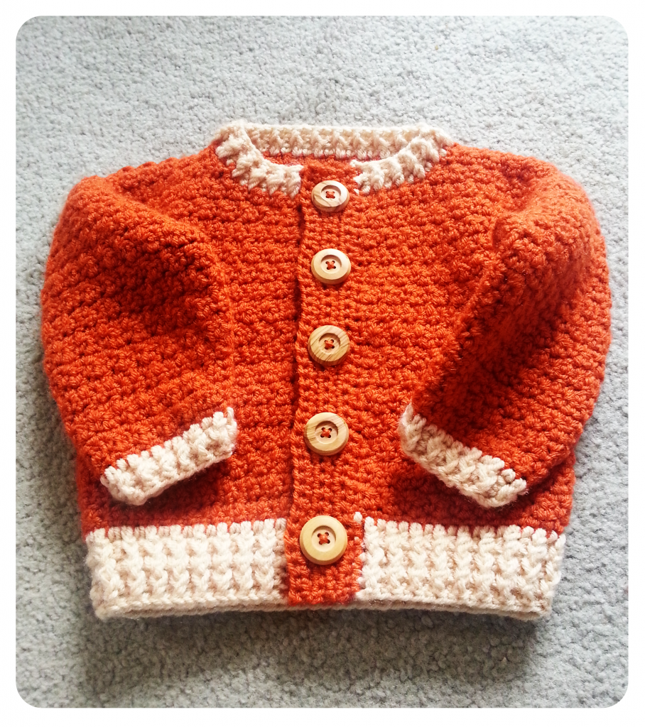 Burnt Orange Cardigan for Baby Boy - With Wooden Buttons