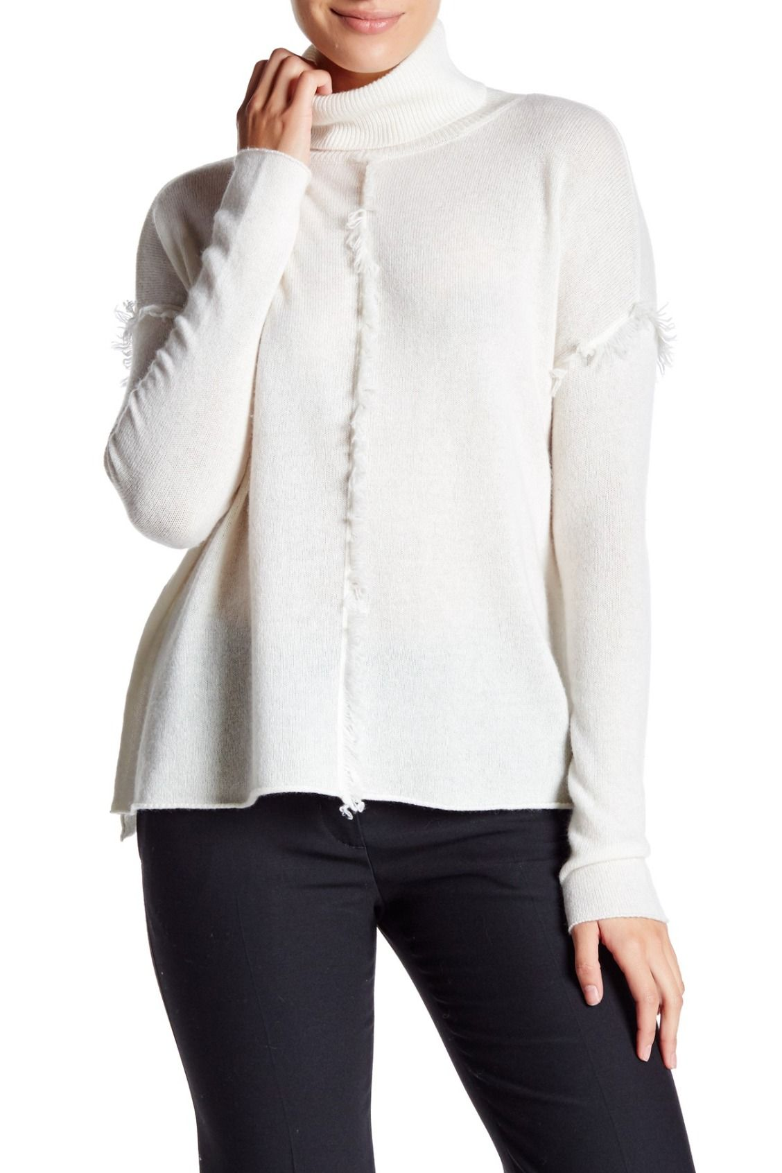 A must for the holidays! Velvet By Graham & Spencer Fringe Trim White Cashmere Turtleneck Sweater