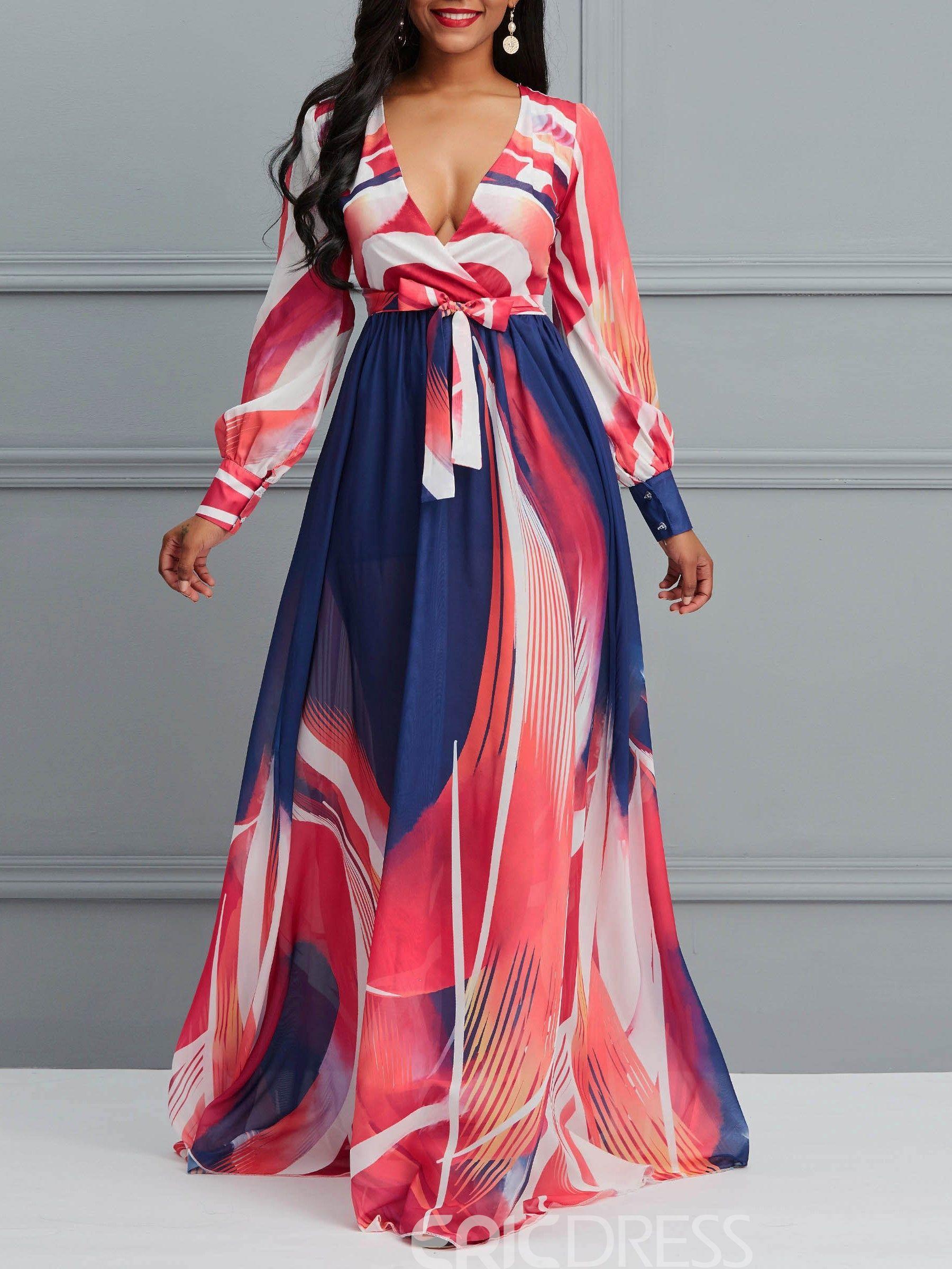 810ad7b2ee856 Ericdress Floor-Length V Neck Print Women s Dress