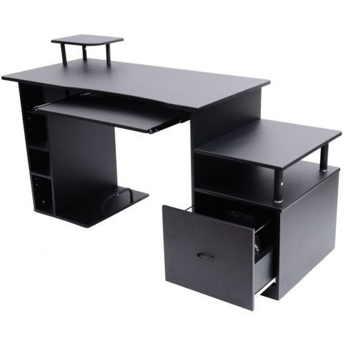 black computer pc desk home office notebook study table. Black Bedroom Furniture Sets. Home Design Ideas