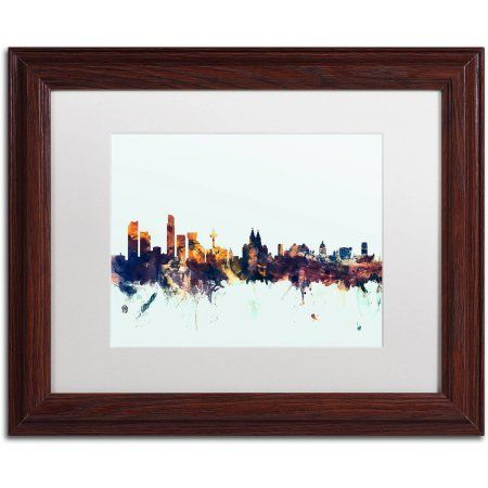 Trademark Fine Art Liverpool England Skyline Blue Canvas Art by ...