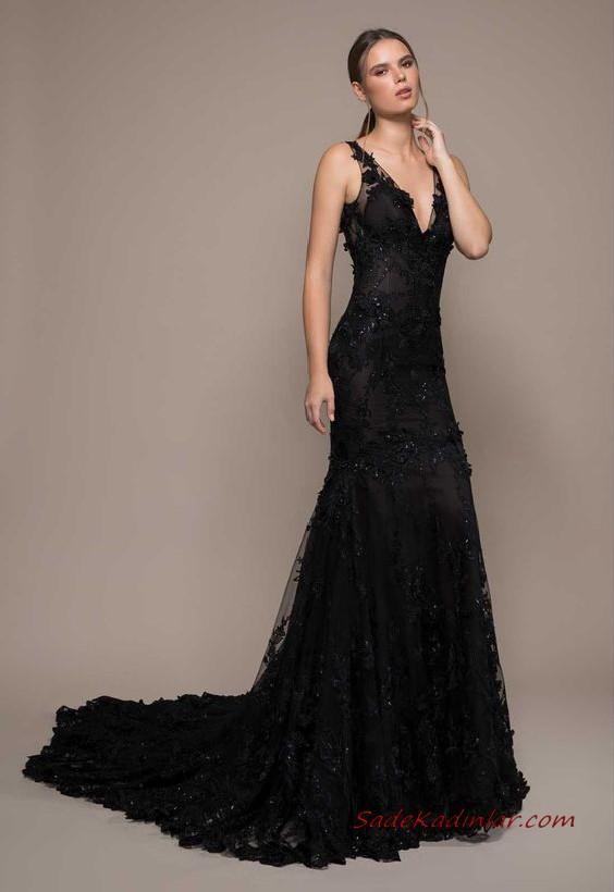 2020 Siyah Abiye Elbise Modelleri Siyah Uzun Askili V Yakali Boncuk Islemeli Siyah Gelinlik Siyah Abiye The Dress