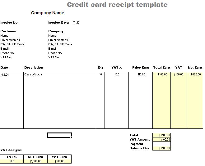 Credit Card Receipt Template - Word - Free Receipt ...