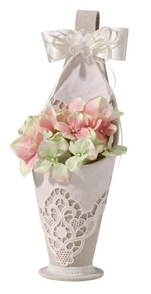 Country Lace Flower Girl Basket - Tan fabric basket with a cream lace overlay.