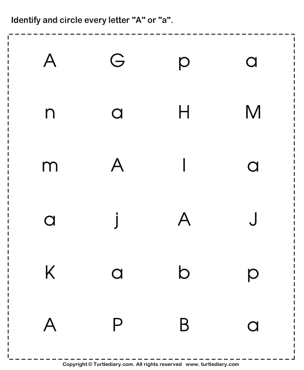 Identify the letter in upper and lower case TurtleDiary – Letter Identification Worksheets