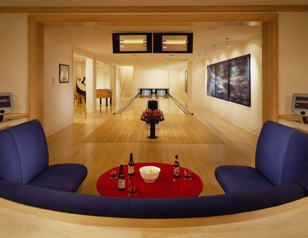 Bowling alley in home.