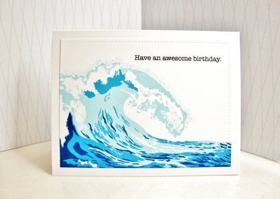 6b51d4a1c4 Wave Birthday Card, Tidal Wave Birthday Card, Surfer Birthday Card, Ocean  Birthday Card, Sea Birthda