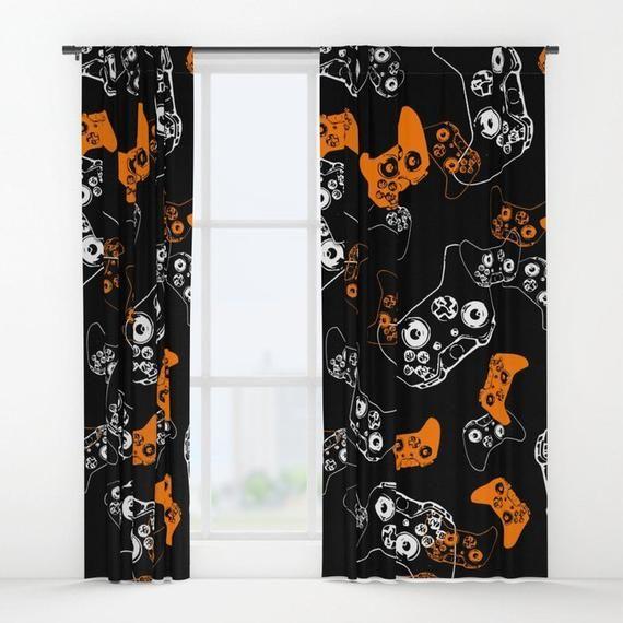 Black Gamer Curtains, Boys Curtains, Gamer Gifts, Video Game Decor, Gamer Room Window Curtain, Gamin #gamerroom