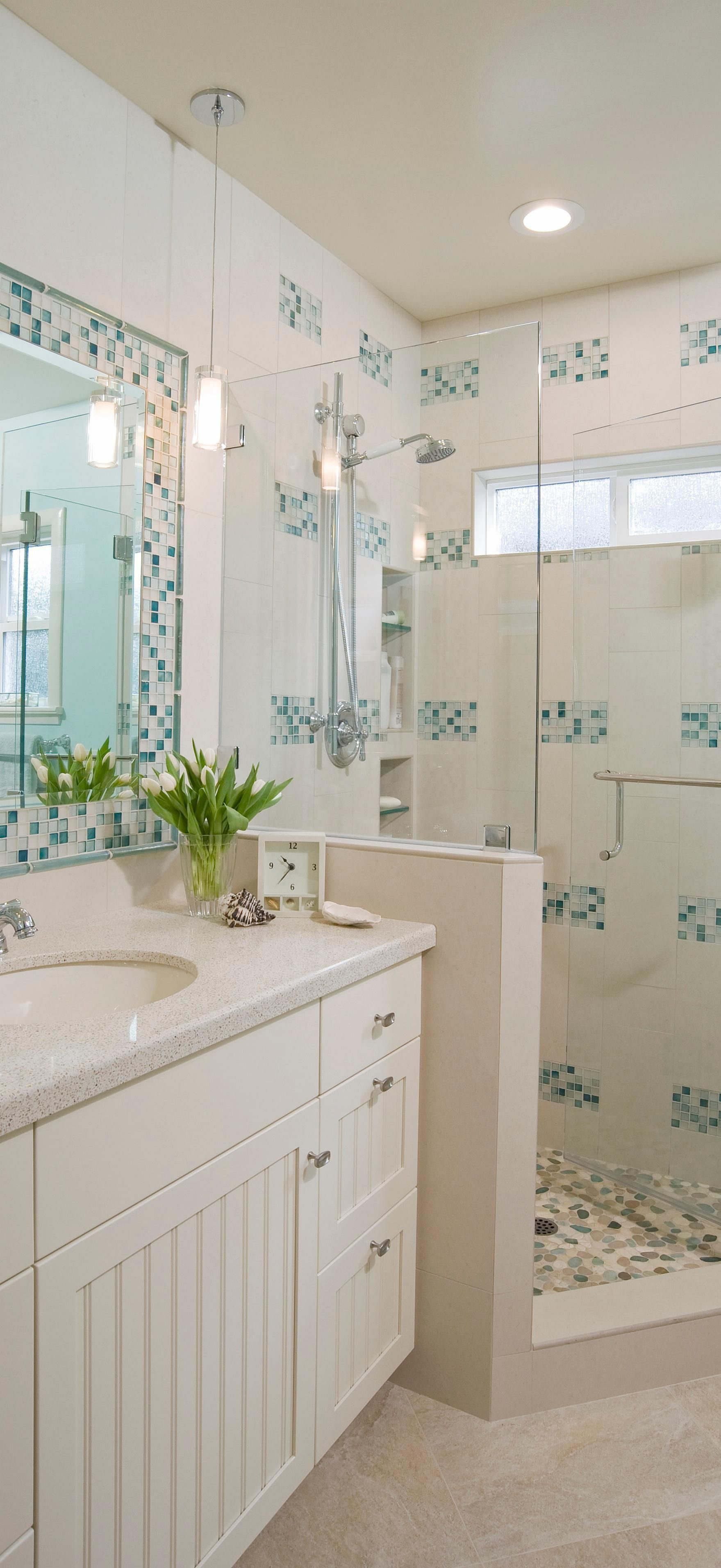 Coastal Blue Glass Tile Bathroom | Sacramento Designers | Pinterest ...
