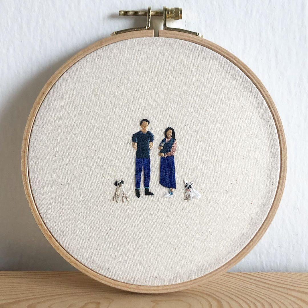 "TAKOS PORTRAIT on Instagram: ""A family portrait . #embroidery #handmadeembroidery #handmadewithlove #handmadegifts #potraitembroidery #potrait #embroidered…"""