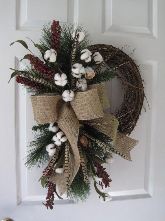 After Christmas Sale Valentine Wreath Cotton Boll Wreath