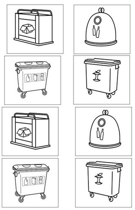 Dibujos de contenedores de reciclaje para colorear - Contenedores de reciclar ...