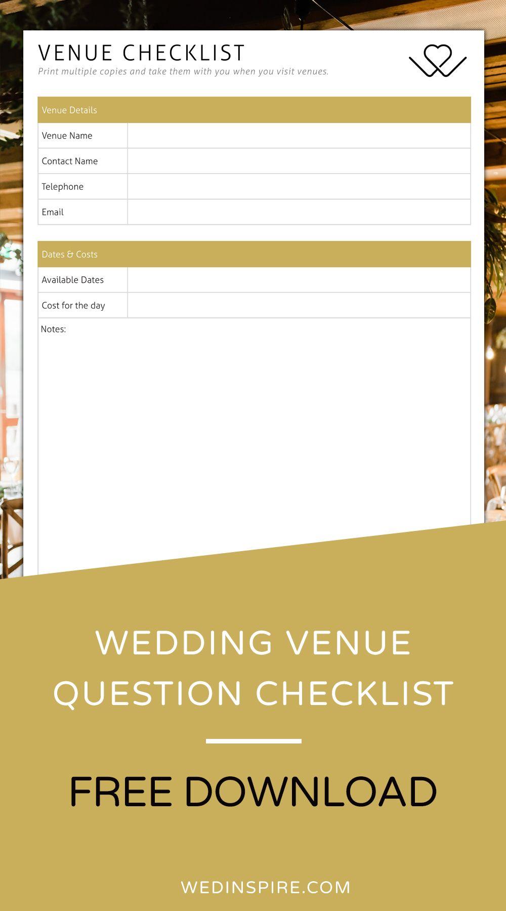 Wedding Venue Checklist Wedding venues checklist