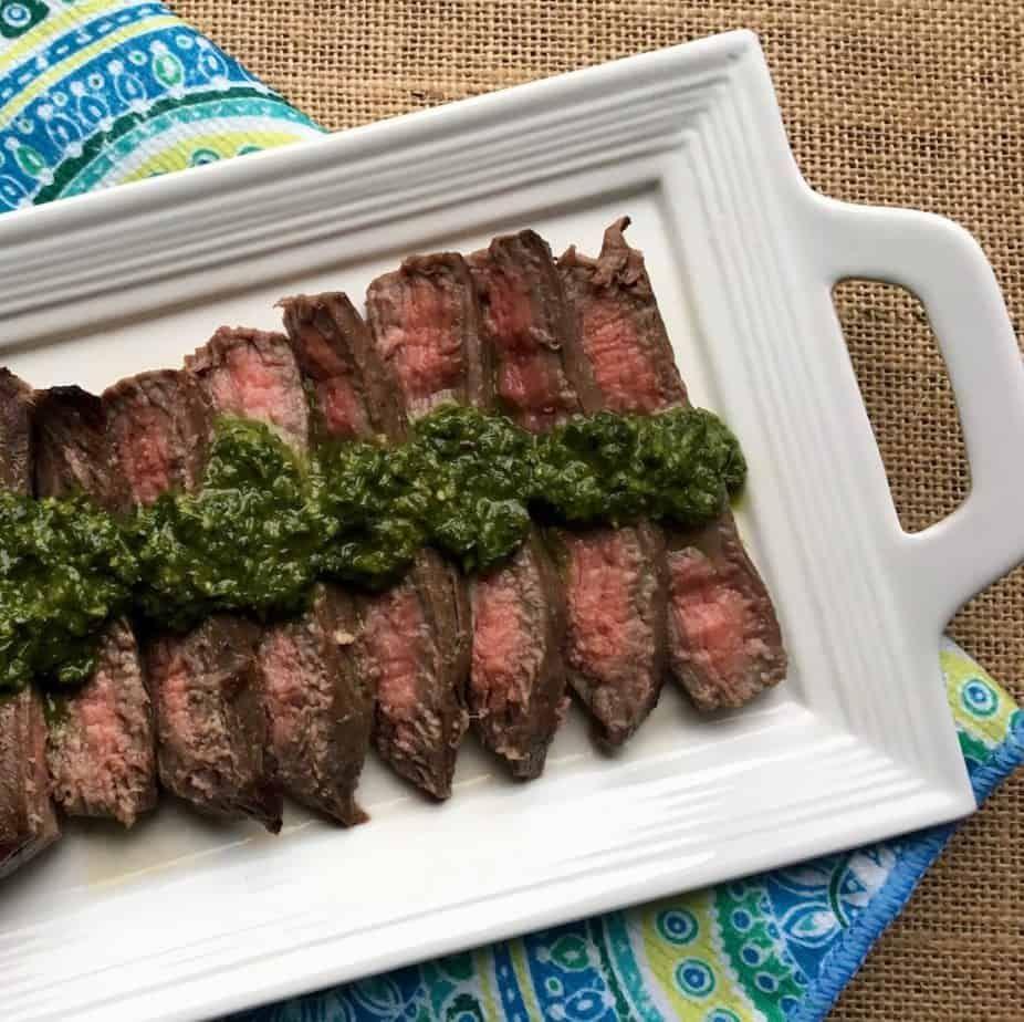 Marinated flank steak with chimichurri sauce marinated