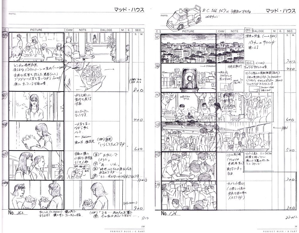 Image result for satoshi kon storyboards Storyboard Reference - script storyboard