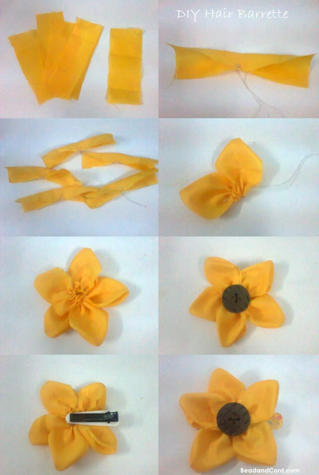 DIY 5 Petal Button Fabric Flower Hair Barrette.  Pinned to use on the cookie sheet magnetic board.