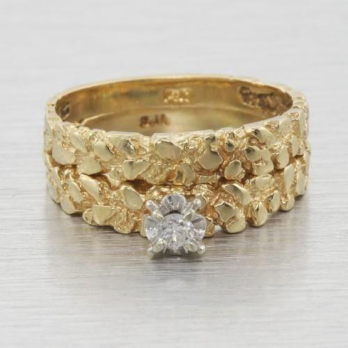 Nugget Wedding Set Custom 14k Gold Diamond Engagement Ring