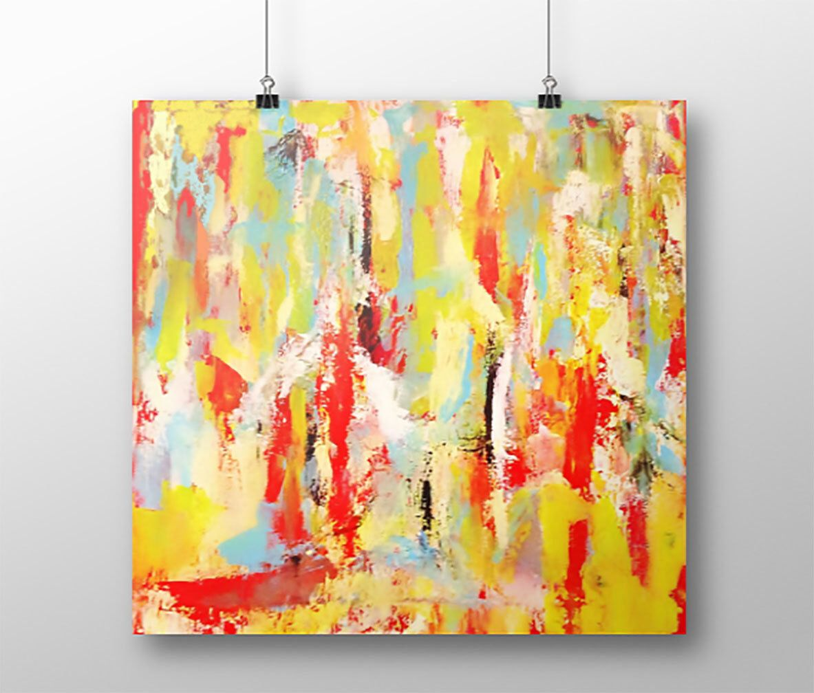 Small, Medium, Large ABSTRACT PRINT, Giclee Print, Yellow, Red, Blue ...
