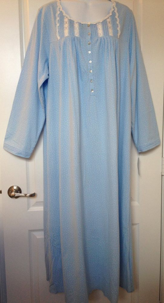 NWT~ EILEEN WEST 100% cotton Jersey LONG SLEEVE LONG NIGHTGOWN BLUE DOT- XL (1X) #EileenWest #Gowns