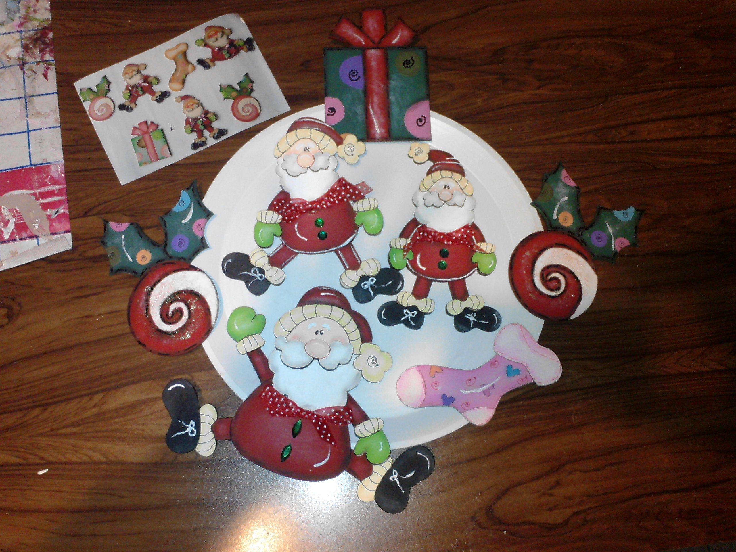Figuras de santa en madera country para corona navide a - Coronas de navidad ...