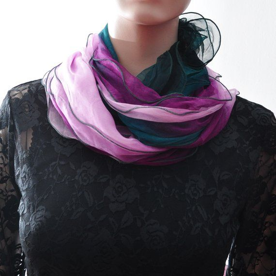 100 Silk Infinity Layer Scarf Shawl Hijab Silk Turban Wrap Head Cover Hair Loss Chemo Scarf Pink P Chemo Scarves Scarf Scarf Shawl