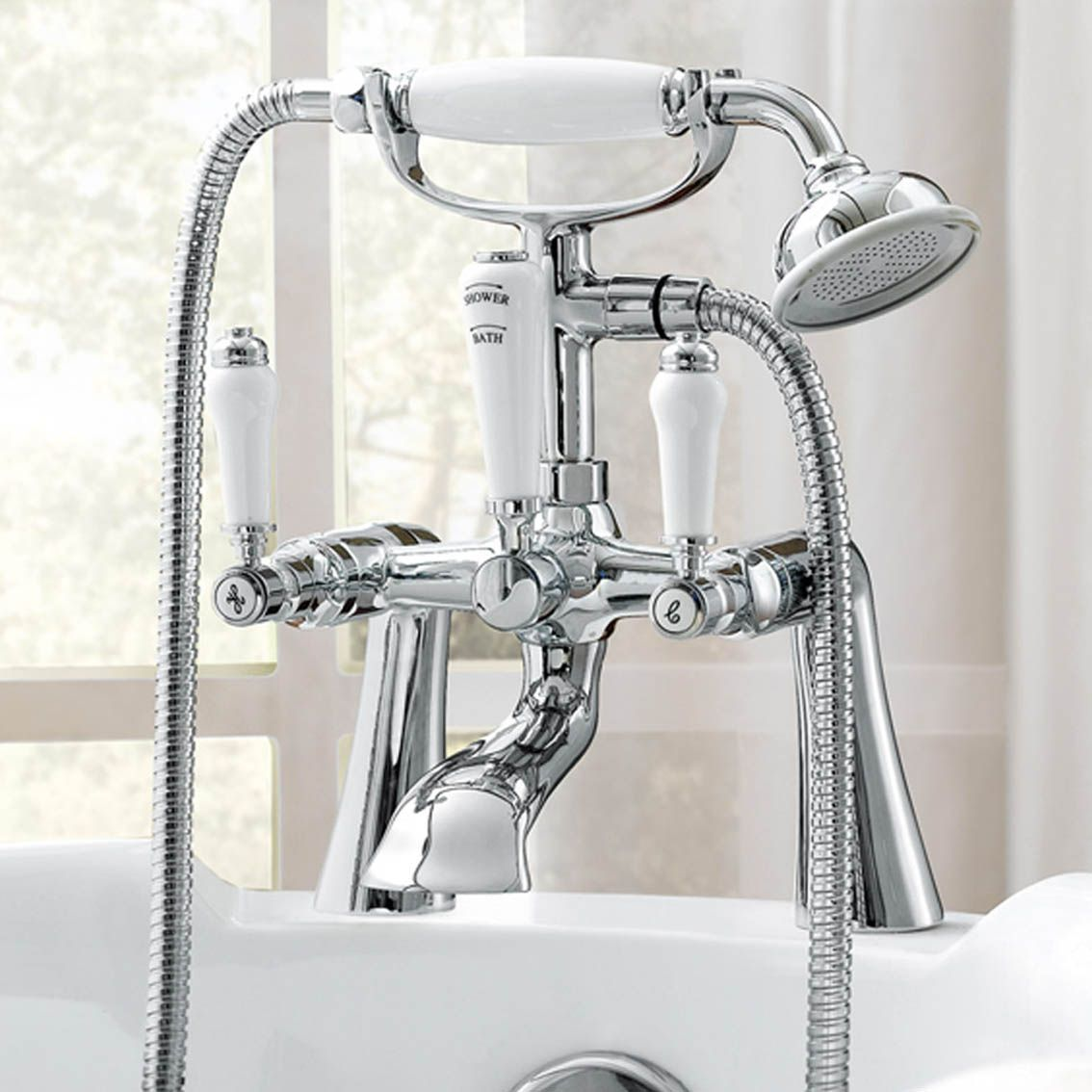 55248302fc Regal Chrome Traditional Bath Mixer Lever Tap with Hand Held Shower