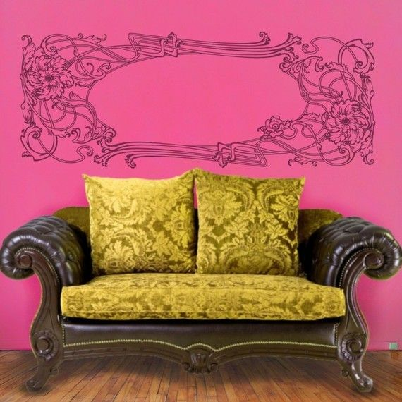 Art nouveau wall decal, vinyl sticker art, floral design wall art ...