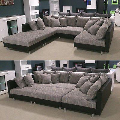 Wohnlandschaft Claudia Xxl Ecksofa Couch Sofa Mit Hocker Schwarz