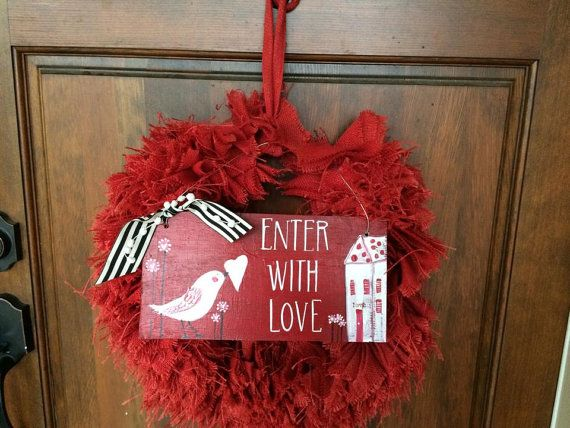 Valentine welcome sign red white and pink by sunshinegirldesigns