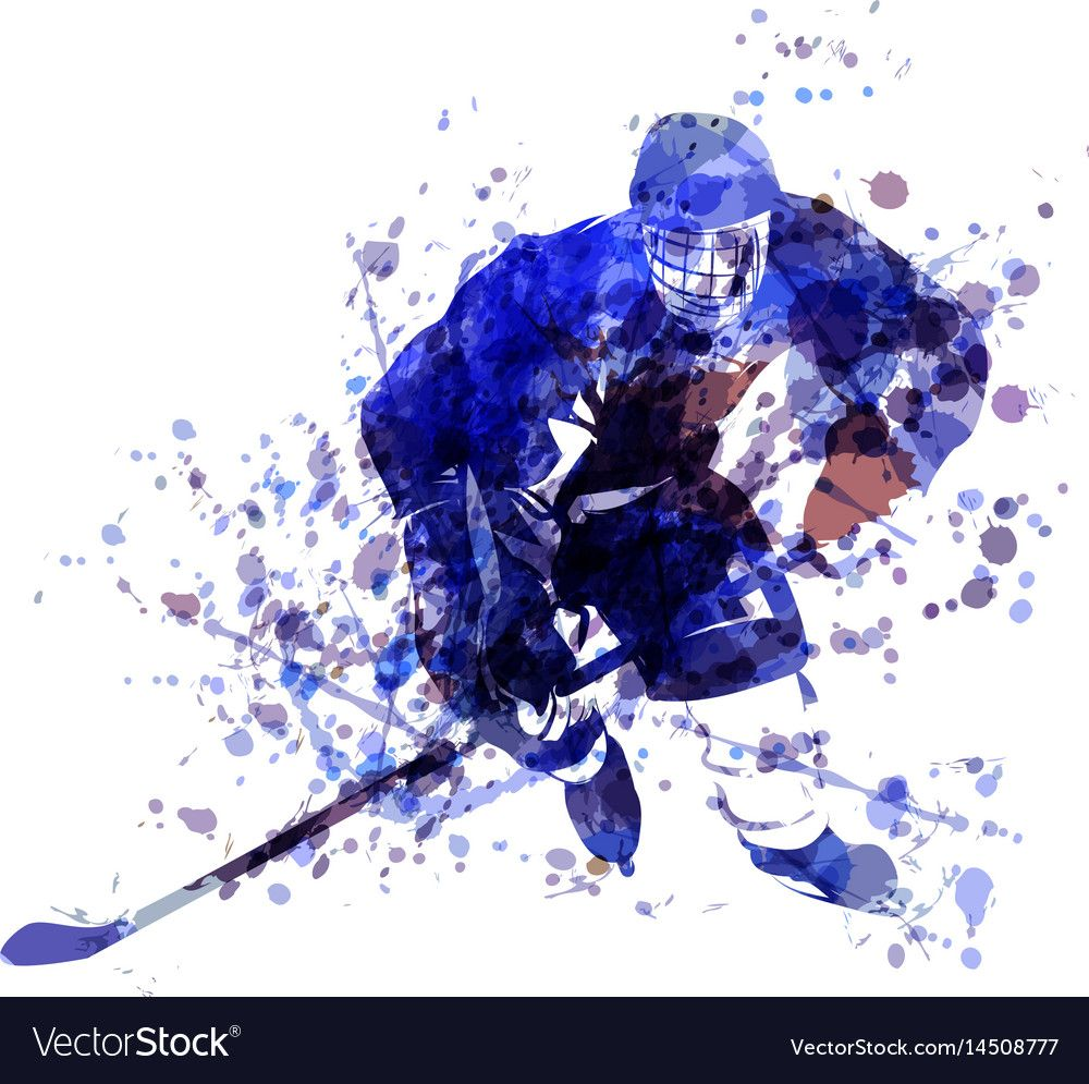 Watercolor Of Hockey Player Vector Image On Vectorstock Hockey Drawing Hockey Players Drawings