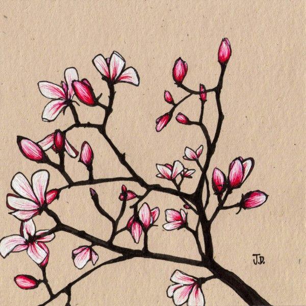 magnolia wall art pink fuscia jessica doyle black tree
