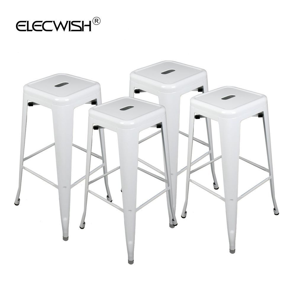 Set Of 4 Metal Steel 30 Bar Stools Vintage Antique Style Height Counter White Elecwish Contemporary Bar Stools Steel Bar Stools Metal Bar Stools