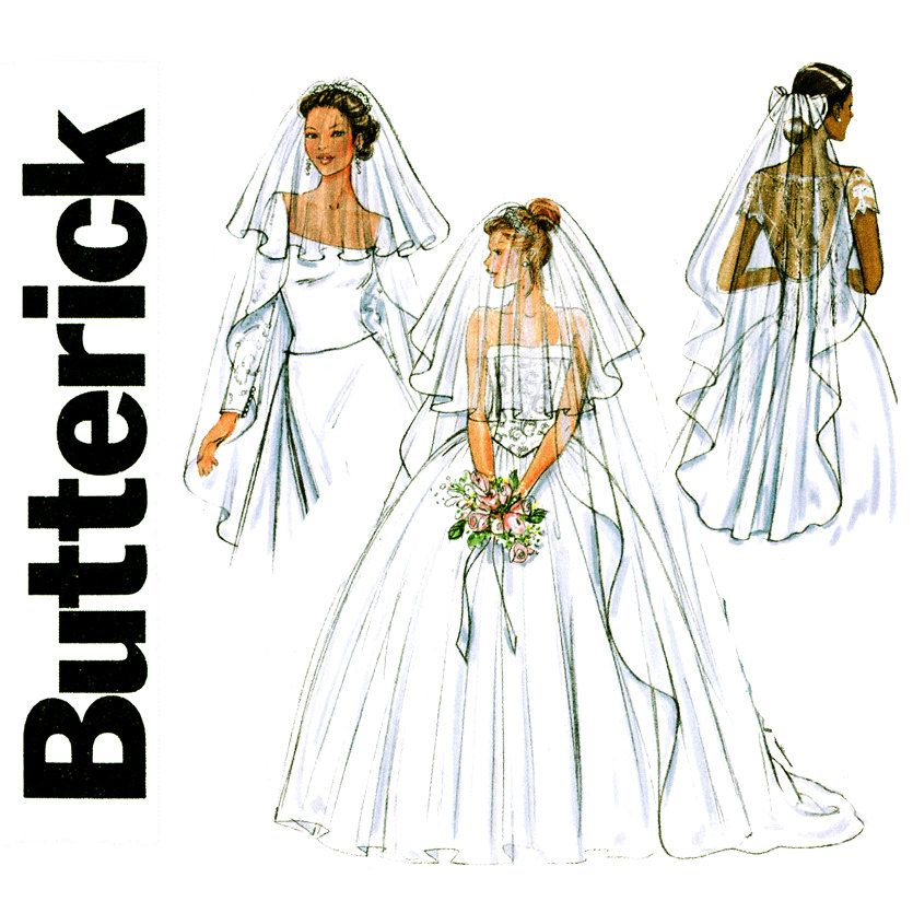 Bridal Veils Pattern Uncut Butterick B4487 Wedding Headpiece Blusher Fingertip Chapel Or Cathedral Length Womens Sewing Patterns