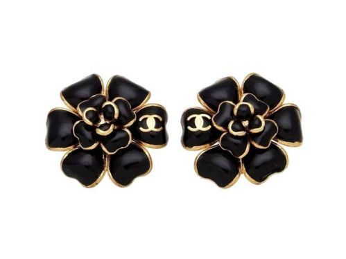 Authentic Vintage Chanel Earrings Black Camellia Flower Cc Logo Coco Ea1833 Vintage Chanel Earrings Chanel Earrings Vintage Chanel