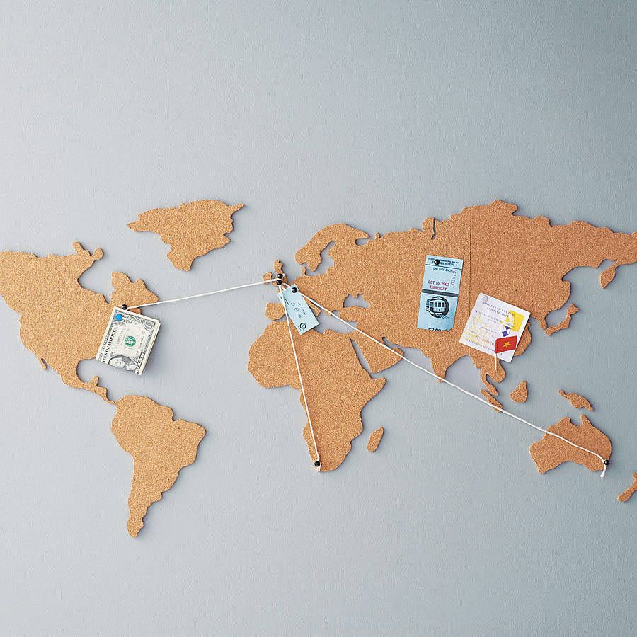 cork map noticeboard fabulous for pinning travel souvenirs to