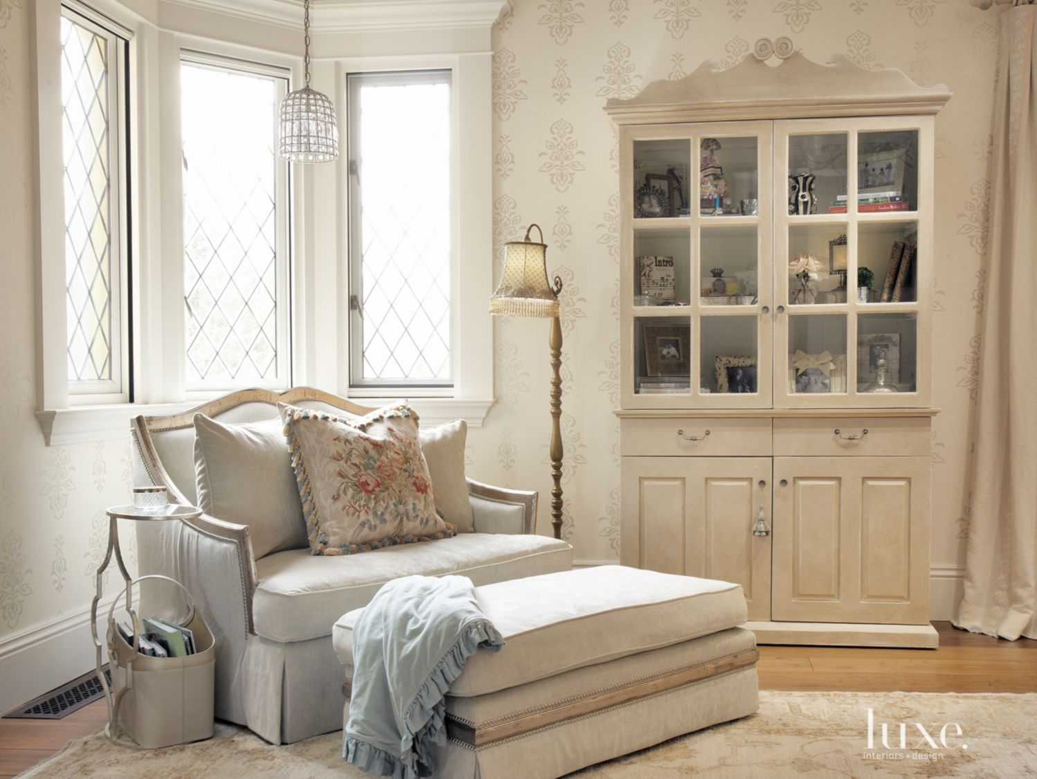key pieces in the living room include a bookcase from found, an