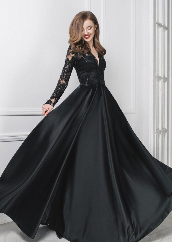 401651e6aee Black evening long dress, Infinity lace dress, Prom silk dress, Bridesmaid  maxi dress, Long satin dr
