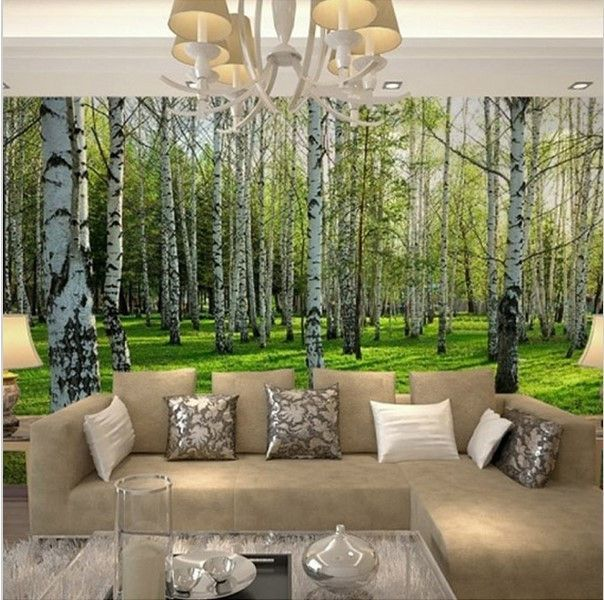 3d Birch Trees Forest Wallpaper For Walls Wall Mural Wall Wallpaper Birches Wallpaper Forest Wallpaper