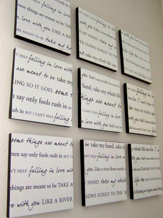 de02356c70e Turn our first dance song lyrics into wall art