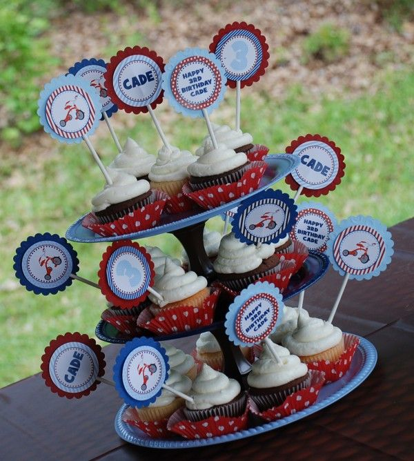 cupcake toppers vintage tricycle party