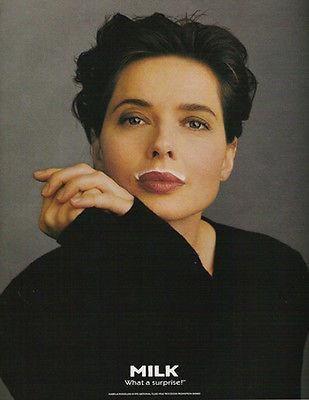 Isabella Rossellini 1995 Photo Milk Surprise Dairy Ad