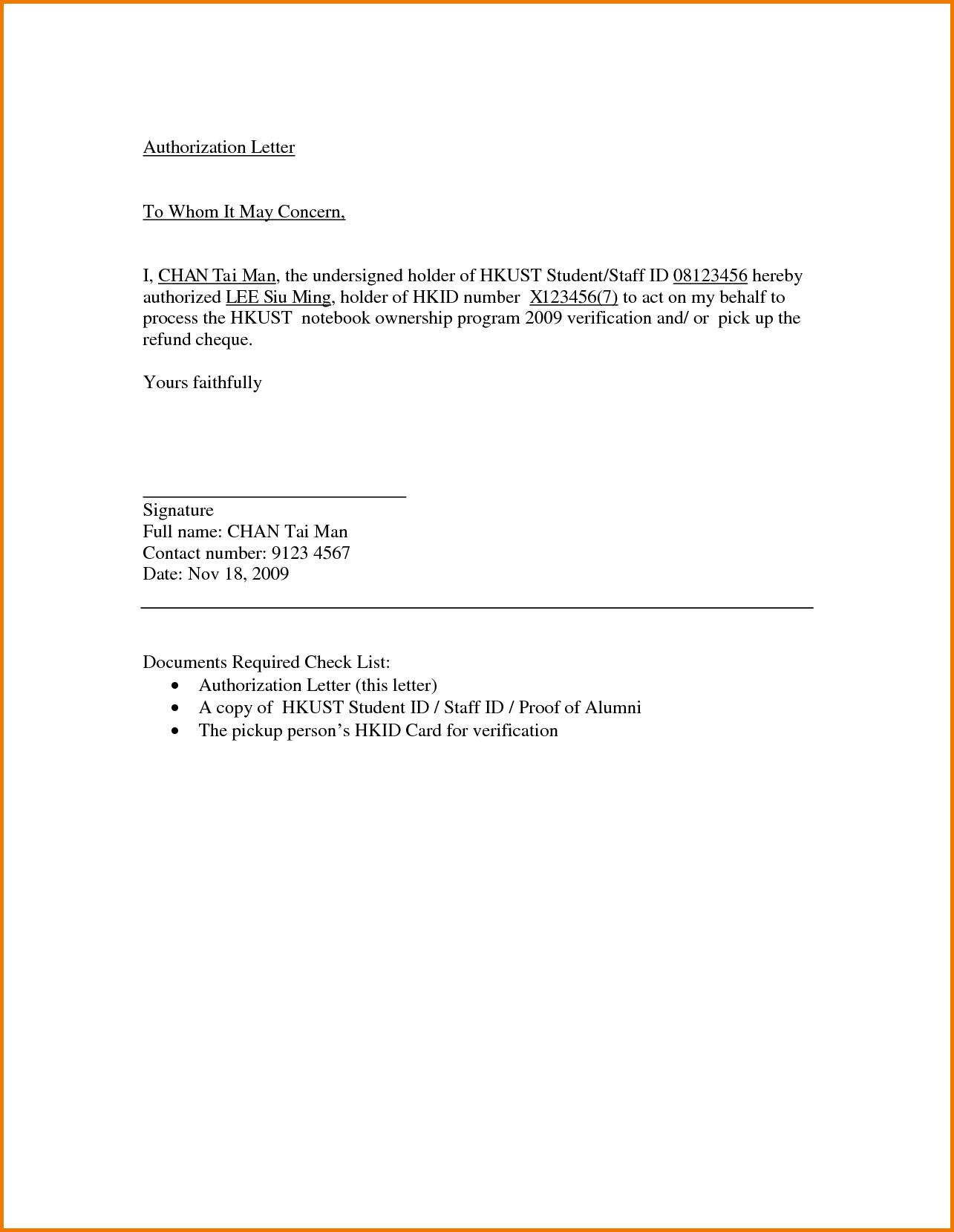 letter authorization sample pdf doc money receipt acknowledgement ...