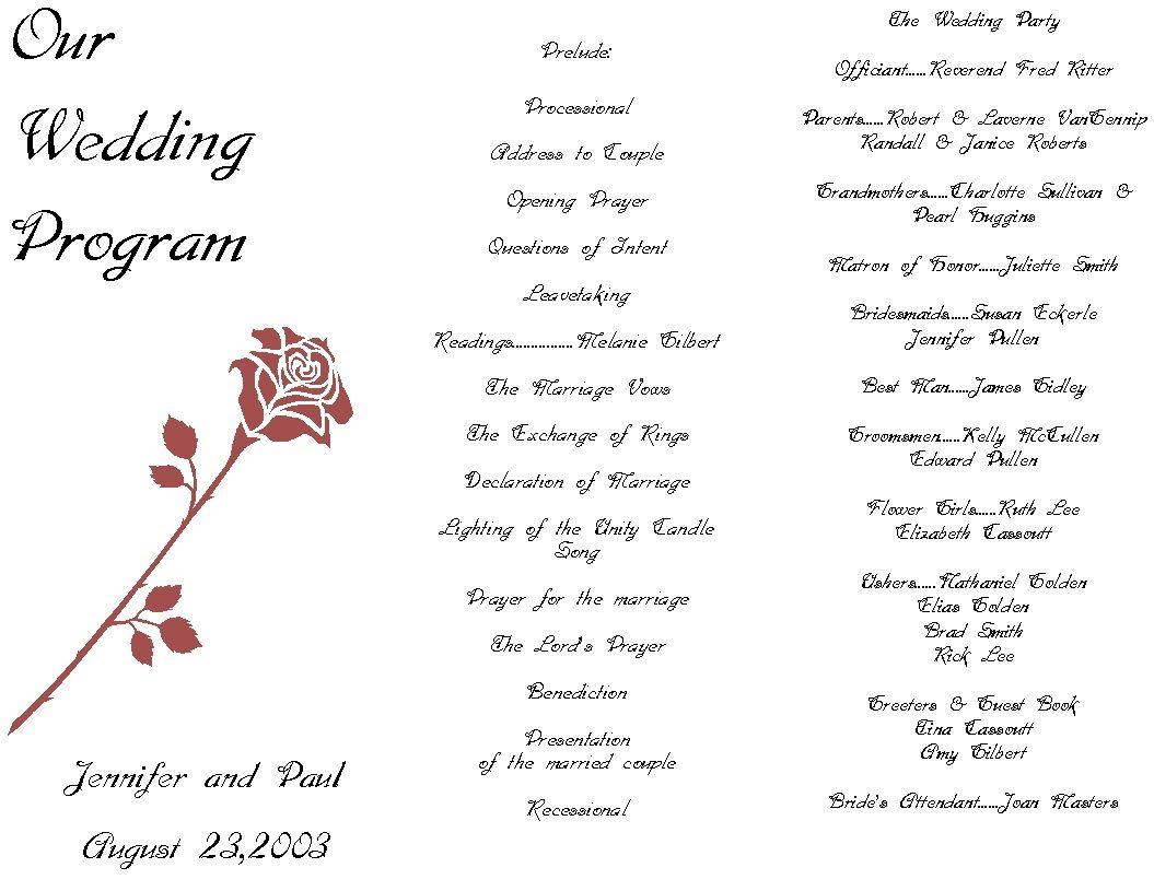 Free Wedding Ceremony Program Template Free Customizable