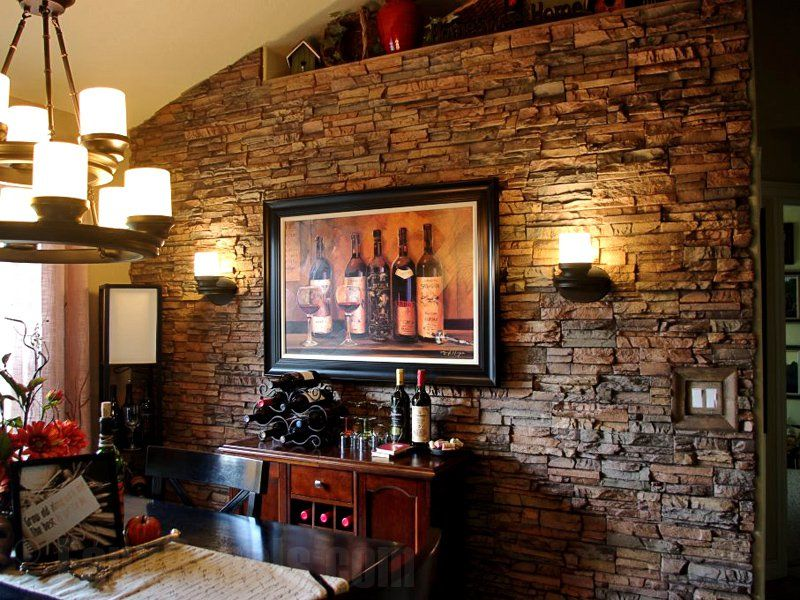 Regency Stacked Stone panels add rich texture a wine themed dining room. Regency Stacked Stone panels add rich texture a wine themed dining